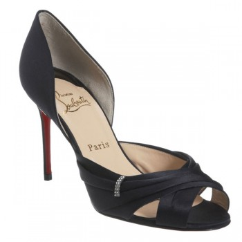 Replica Christian Louboutin Tres Ophrah 80mm Peep Toe Pumps Black Cheap Fake Shoes