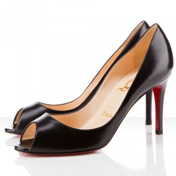 Replica Christian Louboutin You You 80mm Peep Toe Pumps Black Cheap Fake Shoes