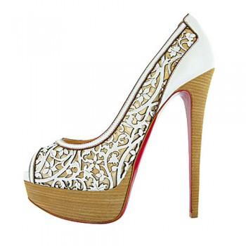 Replica Christian Louboutin Pampas 140mm Peep Toe Pumps White Cheap Fake Shoes