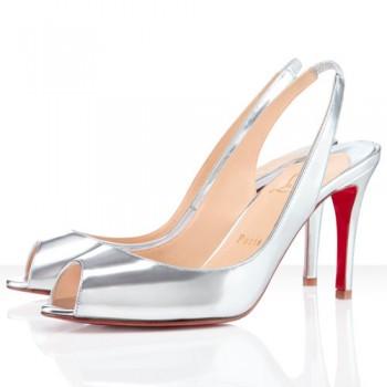 Replica Christian Louboutin You You 80mm Slingbacks Silver Cheap Fake Shoes