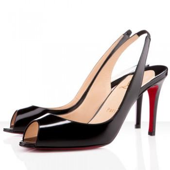 Replica Christian Louboutin You You 80mm Slingbacks Black Cheap Fake Shoes