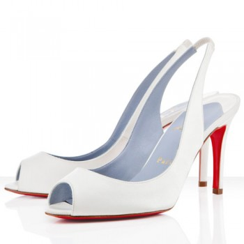 Replica Christian Louboutin You You 80mm Slingbacks White Cheap Fake Shoes