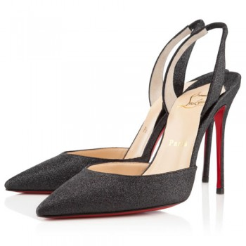 Replica Christian Louboutin Ever 100mm Slingbacks Black Cheap Fake Shoes
