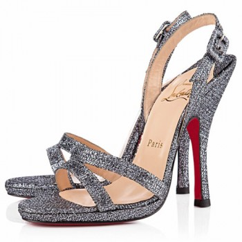 Replica Christian Louboutin Fine Romance 120mm Slingbacks Grey Cheap Fake Shoes
