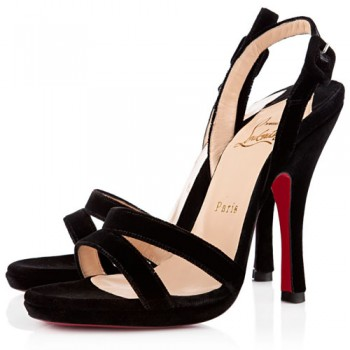 Replica Christian Louboutin Fine Romance 120mm Slingbacks Black Cheap Fake Shoes