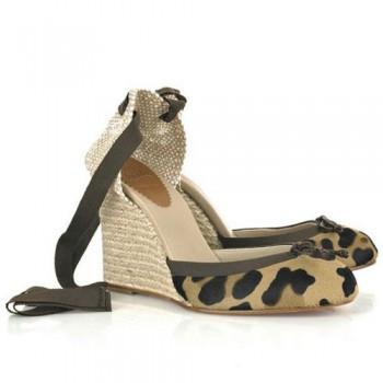 Replica Christian Louboutin Carino 100mm Wedges Leopard Cheap Fake Shoes