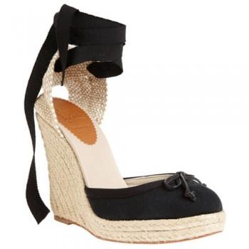 Replica Christian Louboutin Carino Plato 120mm Wedges Black Cheap Fake Shoes