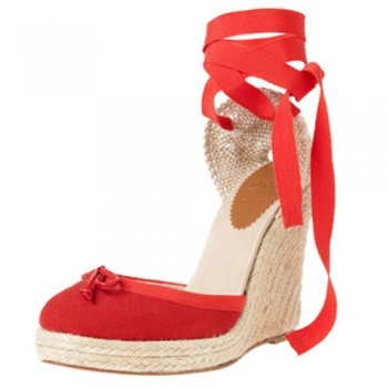 Replica Christian Louboutin Carino Plato 120mm Wedges Red Cheap Fake Shoes