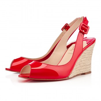 Replica Christian Louboutin puglia 80mm Wedges Rouge Lipstick Cheap Fake Shoes