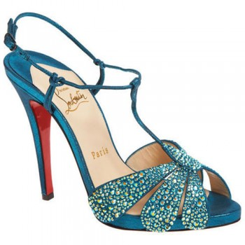 Replica Christian Louboutin Margi Diams 120mm Sandals Turquoise Cheap Fake Shoes