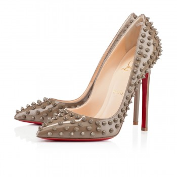 Replica Christian Louboutin Pigalle Spikes 120mm Pumps Taupe Cheap Fake Shoes