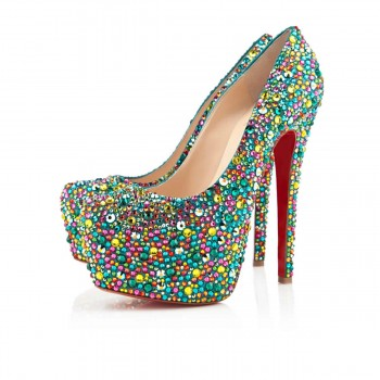 Replica Christian Louboutin Highness Strass 160mm Peep Toe Pumps Multicolor Cheap Fake Shoes