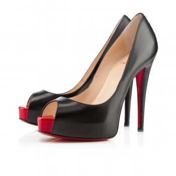 Replica Christian Louboutin Vendome 120mm Peep Toe Pumps Black/Red Cheap Fake Shoes