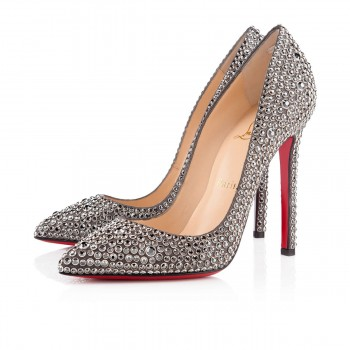 Replica Christian Louboutin Pigalle Strass 120mm Special Occasion Hematite Cheap Fake Shoes