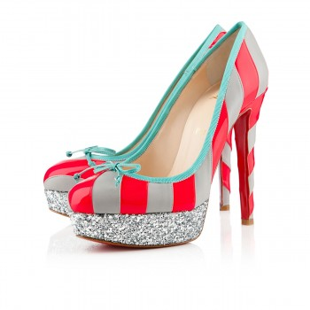 Replica Christian Louboutin Foraine 140mm Platforms Rose Paris/Light Grey Cheap Fake Shoes