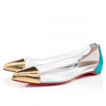 Replica Christian Louboutin Corbeau Flat Sandals Gold/Caraibes Cheap Fake Shoes