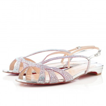 Replica Christian Louboutin Lady strass Flat Sandals Silver Cheap Fake Shoes
