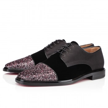 Replica Christian Louboutin Bruno Orlato Glitter Loafers Rose Antique Cheap Fake Shoes
