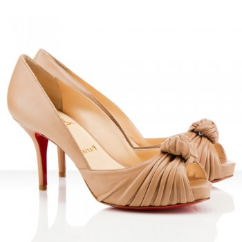 Replica Christian Louboutin Greissimo 80mm Peep Toe Pumps Beige Cheap Fake Shoes