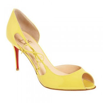 Replica Christian Louboutin Delico 100mm Peep Toe Pumps Yellow Cheap Fake Shoes