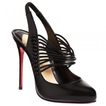 Replica Christian Louboutin Mille Cordes 100mm Slingbacks Black Cheap Fake Shoes