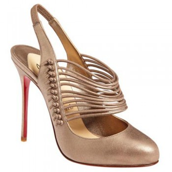 Replica Christian Louboutin Mille Cordes 100mm Slingbacks Champagne Cheap Fake Shoes