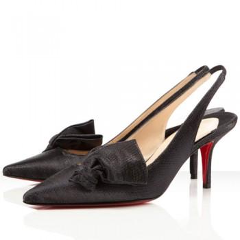 Replica Christian Louboutin Lady Cukor 70mm Slingbacks Black Cheap Fake Shoes
