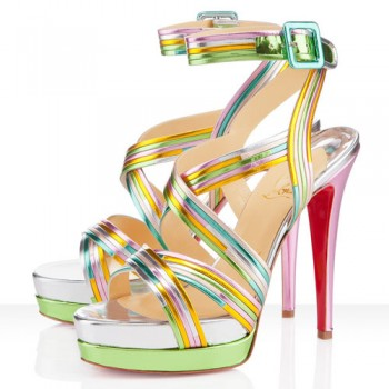 Replica Christian Louboutin Meteorita 140mm Sandals Multicolor Cheap Fake Shoes