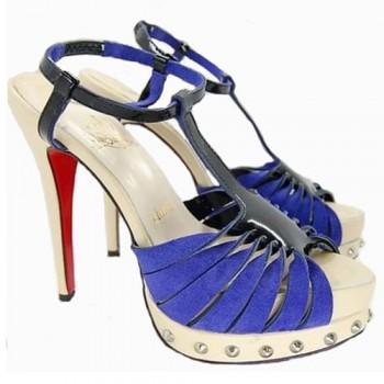 Replica Christian Louboutin Zigounette 140mm Sandals Blue Cheap Fake Shoes