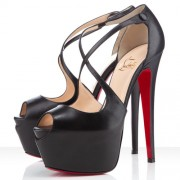 Replica Christian Louboutin Exagona 160mm Sandals Black Cheap Fake Shoes