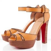 Replica Christian Louboutin Woodaola 120mm Sandals Orange Cheap Fake Shoes