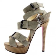 Replica Christian Louboutin Toutenkaboucle 140mm Sandals Taupe Cheap Fake Shoes