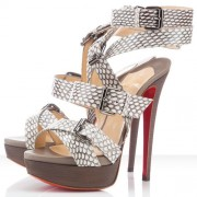 Replica Christian Louboutin Toutenkaboucle 140mm Sandals Light Grey Cheap Fake Shoes