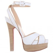 Replica Christian Louboutin Vivaeva 160mm Sandals White Cheap Fake Shoes
