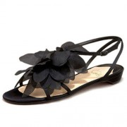 Replica Christian Louboutin Petal Crepe Sandals Black Cheap Fake Shoes
