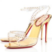 Replica Christian Louboutin Icone A Clous 100mm Sandals Gold Cheap Fake Shoes
