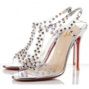 Replica Christian Louboutin J-Lissimo 100mm Sandals Silver Cheap Fake Shoes