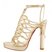 Replica Christian Louboutin Tasseled 120mm Sandals Gold Cheap Fake Shoes