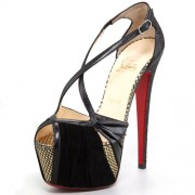 Replica Christian Louboutin Divinoche 160mm Sandals Black Cheap Fake Shoes