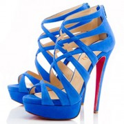 Replica Christian Louboutin Balota 140mm Sandals Blue Cheap Fake Shoes