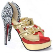 Replica Christian Louboutin Ambertina 140mm Sandals Mandarin Red Cheap Fake Shoes