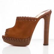 Replica Christian Louboutin Sablina 140mm Sandals Brown Cheap Fake Shoes