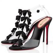 Replica Christian Louboutin Bow Bow 100mm Sandals Black Cheap Fake Shoes