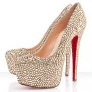Replica Christian Louboutin Daffodile Strass 160mm Platforms Gold Cheap Fake Shoes