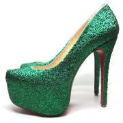 Replica Christian Louboutin Daffodile 160mm Platforms Dark Green Cheap Fake Shoes