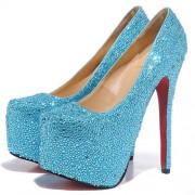 Replica Christian Louboutin Daffodile 160mm Platforms Light Blue Cheap Fake Shoes