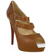 Replica Christian Louboutin Luly 140mm Mary Jane Pumps Brown Cheap Fake Shoes