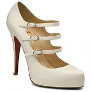 Replica Christian Louboutin Dillian 120mm Mary Jane Pumps White Cheap Fake Shoes