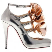 Replica Christian Louboutin Dillian 120mm Mary Jane Pumps Silver Cheap Fake Shoes