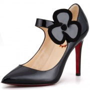 Replica Christian Louboutin Pensee 100mm Mary Jane Pumps Black Cheap Fake Shoes